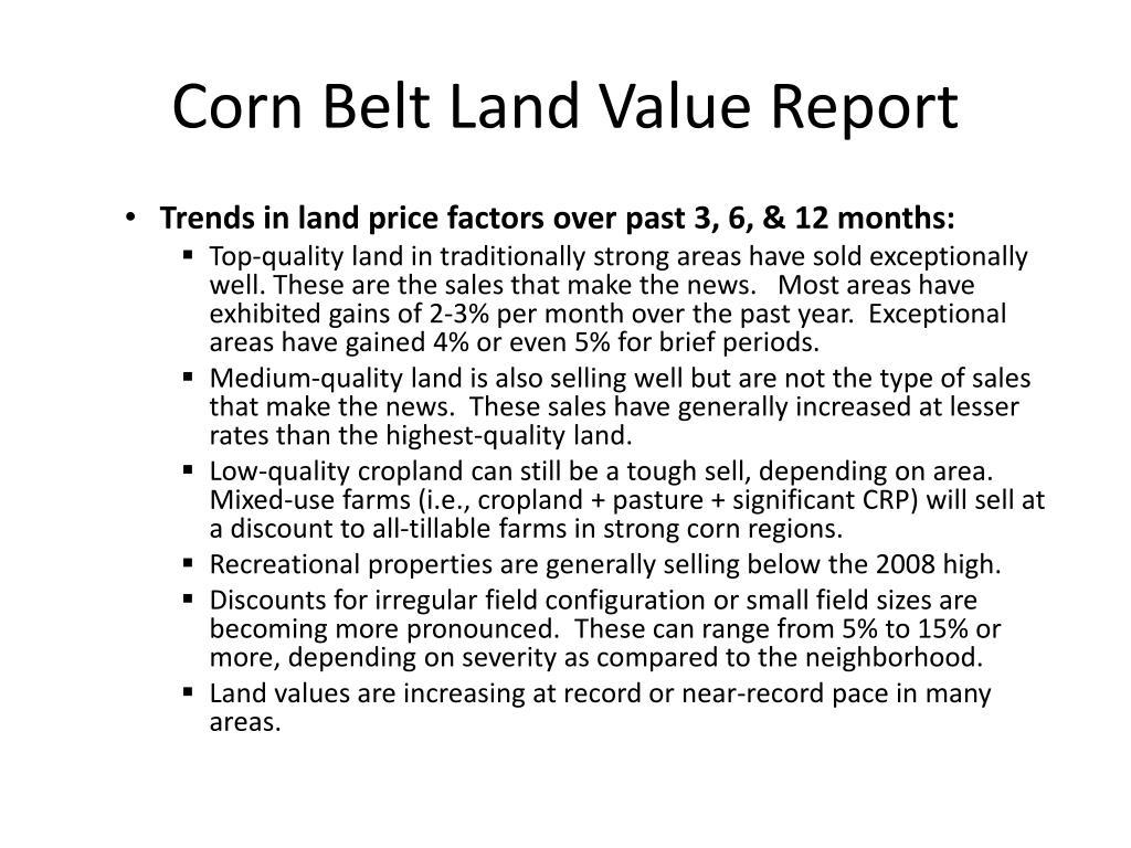 Corn Belt Land Value Report