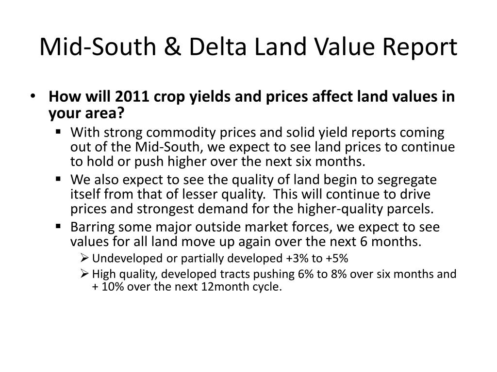 Mid-South & Delta Land Value Report