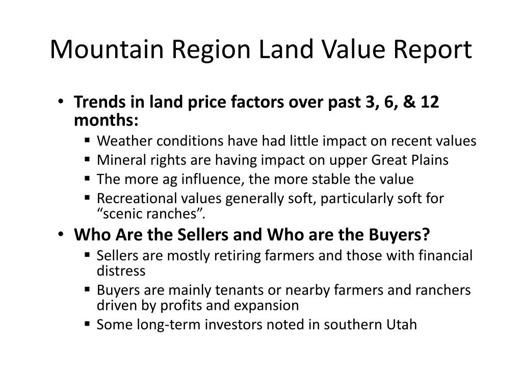 Mountain Region Land Value Report