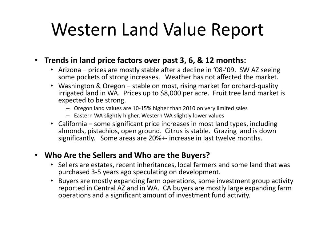 Western Land Value Report