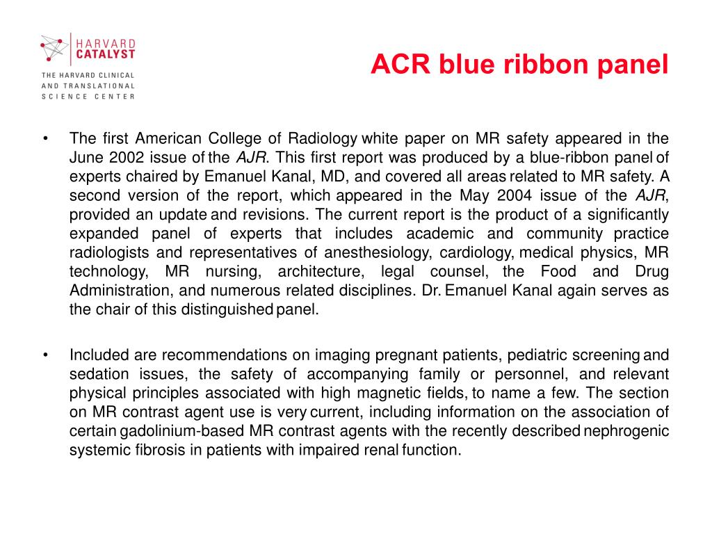 ACR blue ribbon panel