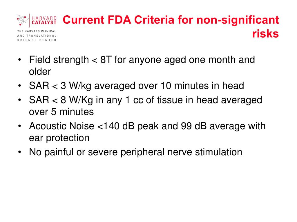 Current FDA Criteria for non-significant risks