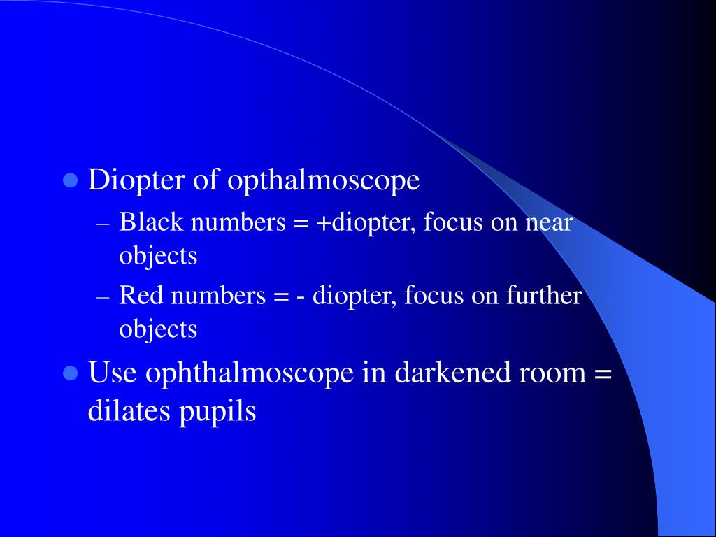 Diopter of opthalmoscope