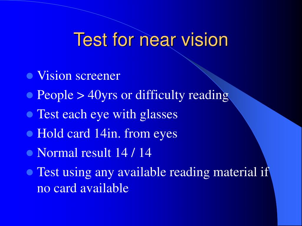 Test for near vision