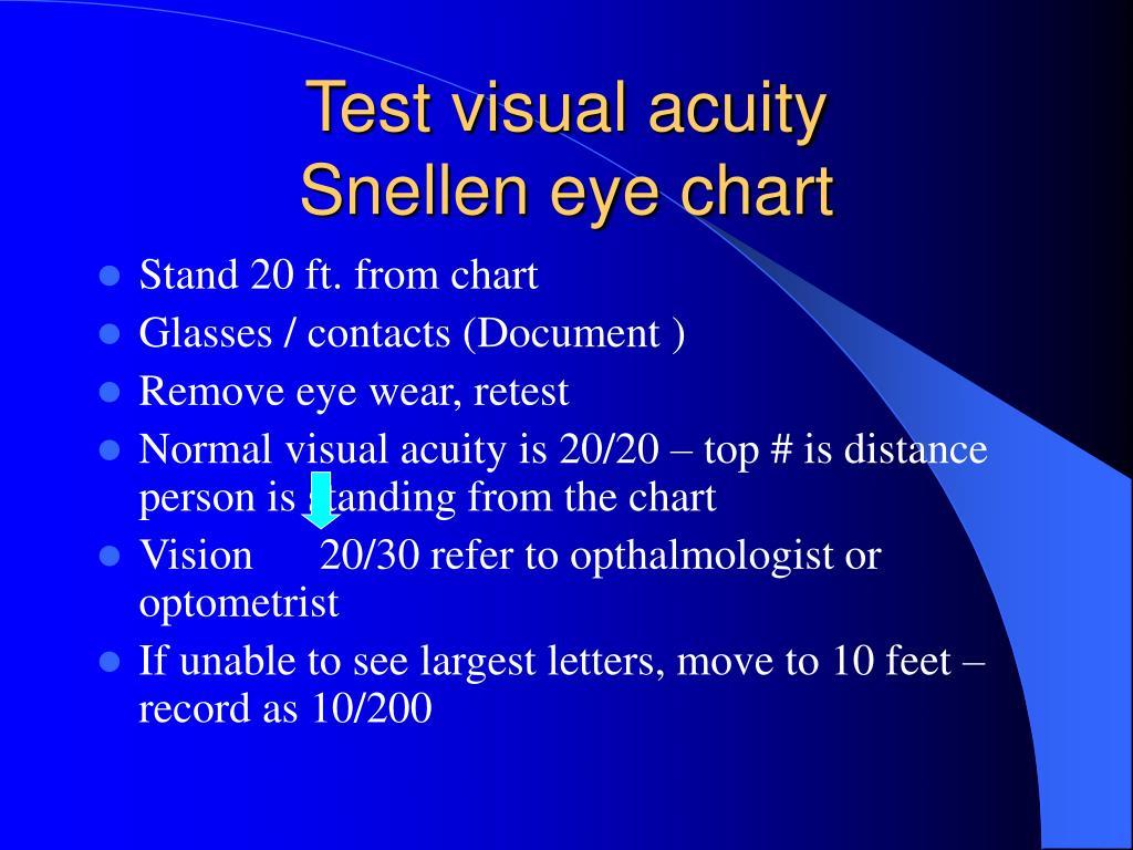 Test visual acuity