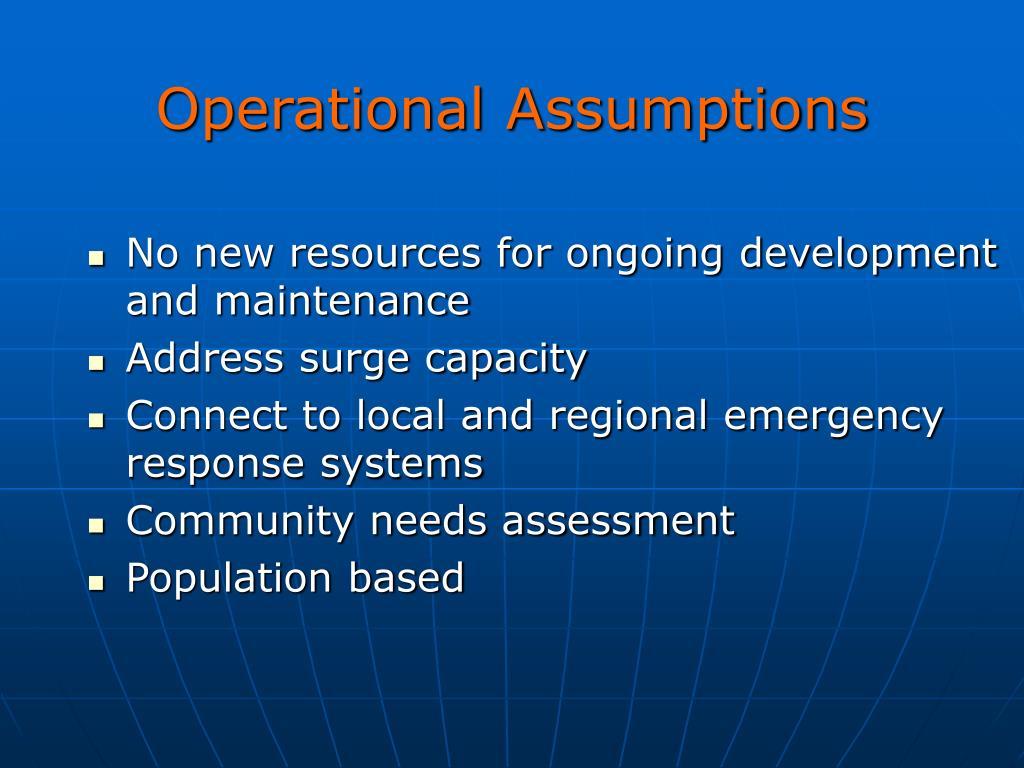 Operational Assumptions