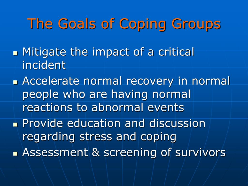 The Goals of Coping Groups