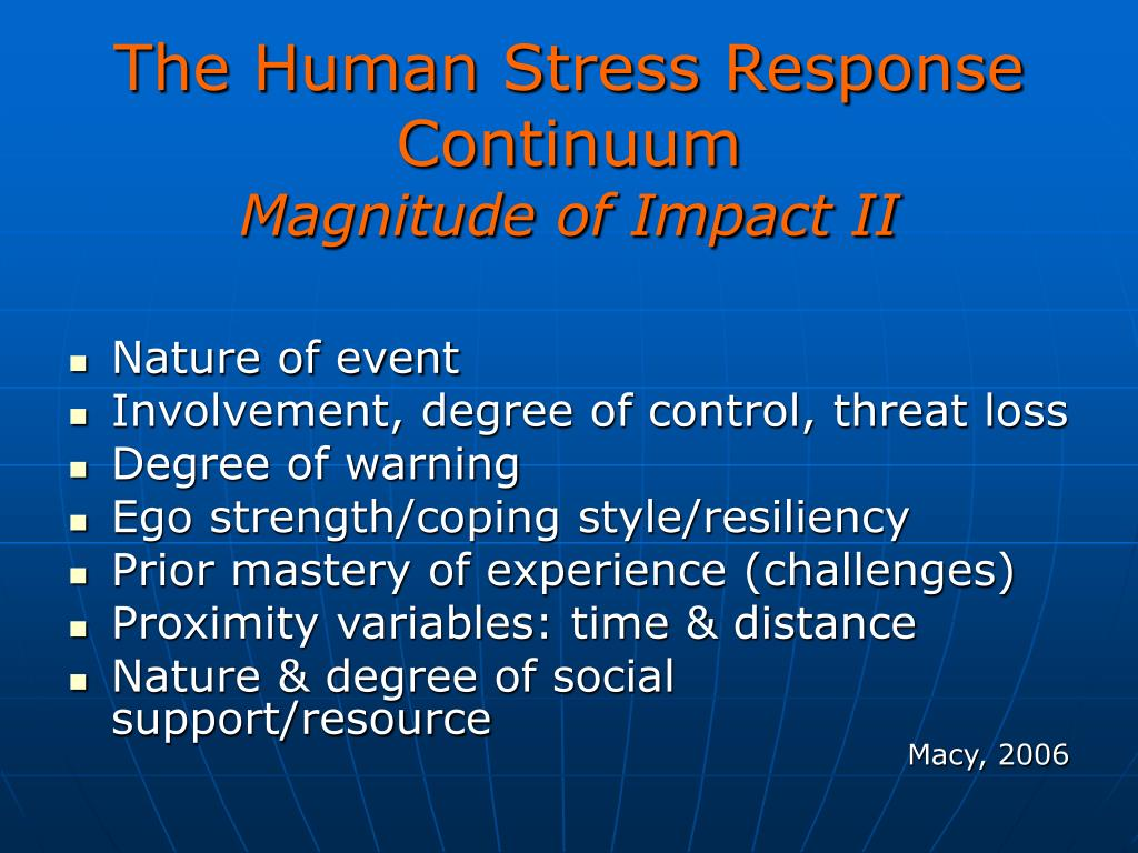 The Human Stress Response Continuum