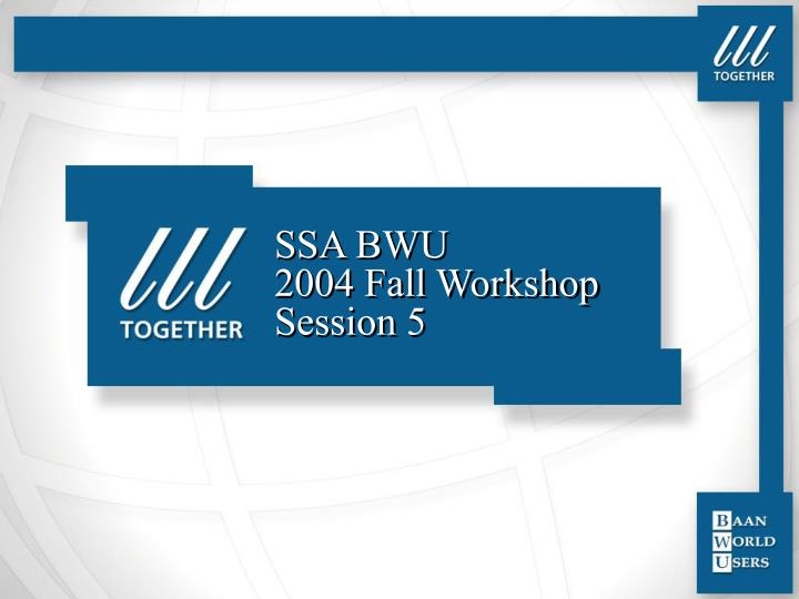 Ssa bwu 2004 fall workshop session 5 l.jpg