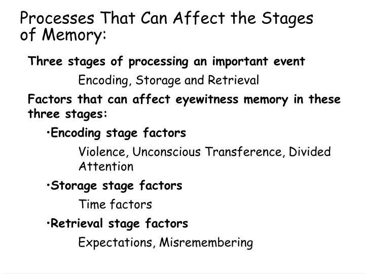 Processes that can affect the stages of memory
