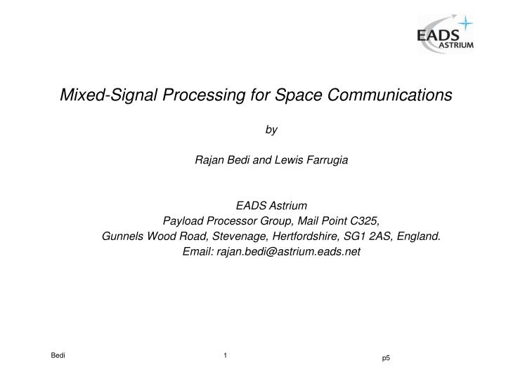 Mixed signal processing for space communications l.jpg