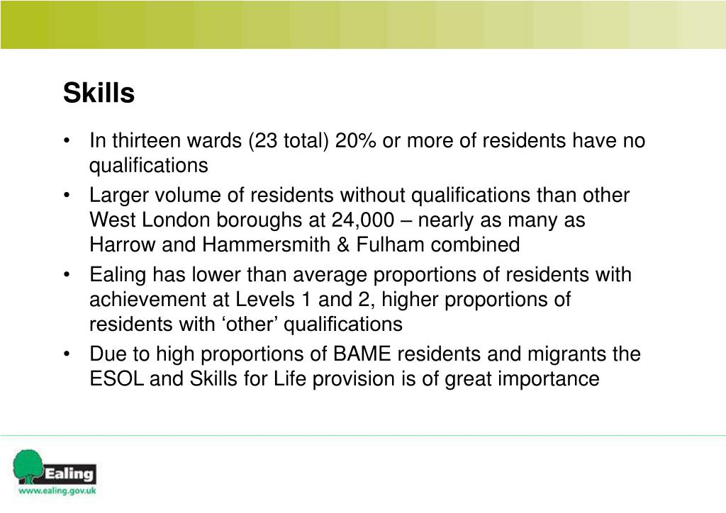 In thirteen wards (23 total) 20% or more of residents have no qualifications