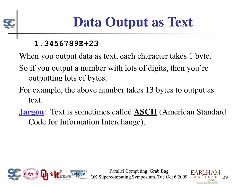 Data Output as Text