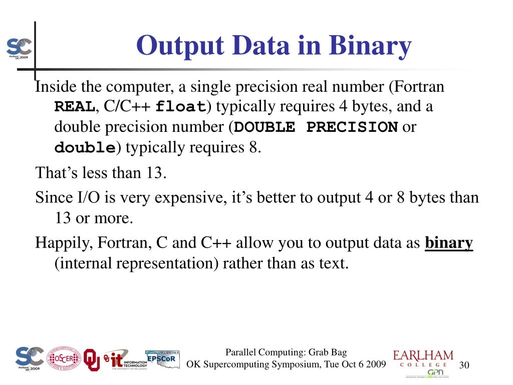 Output Data in Binary