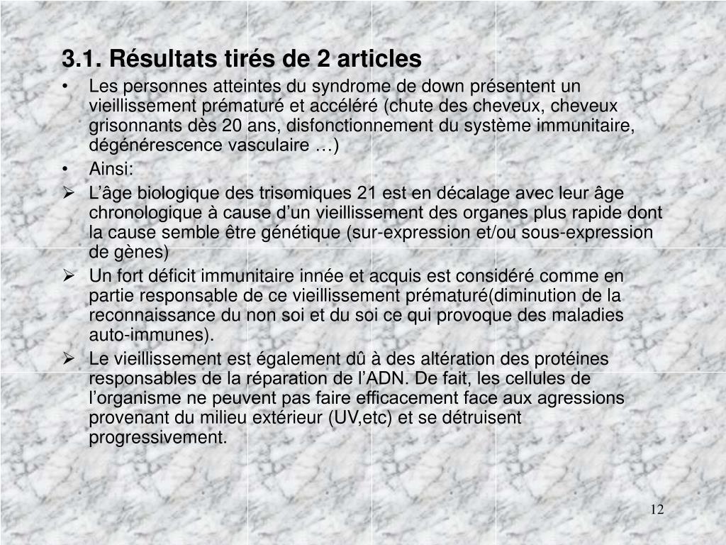 3.1. Résultats tirés de 2 articles
