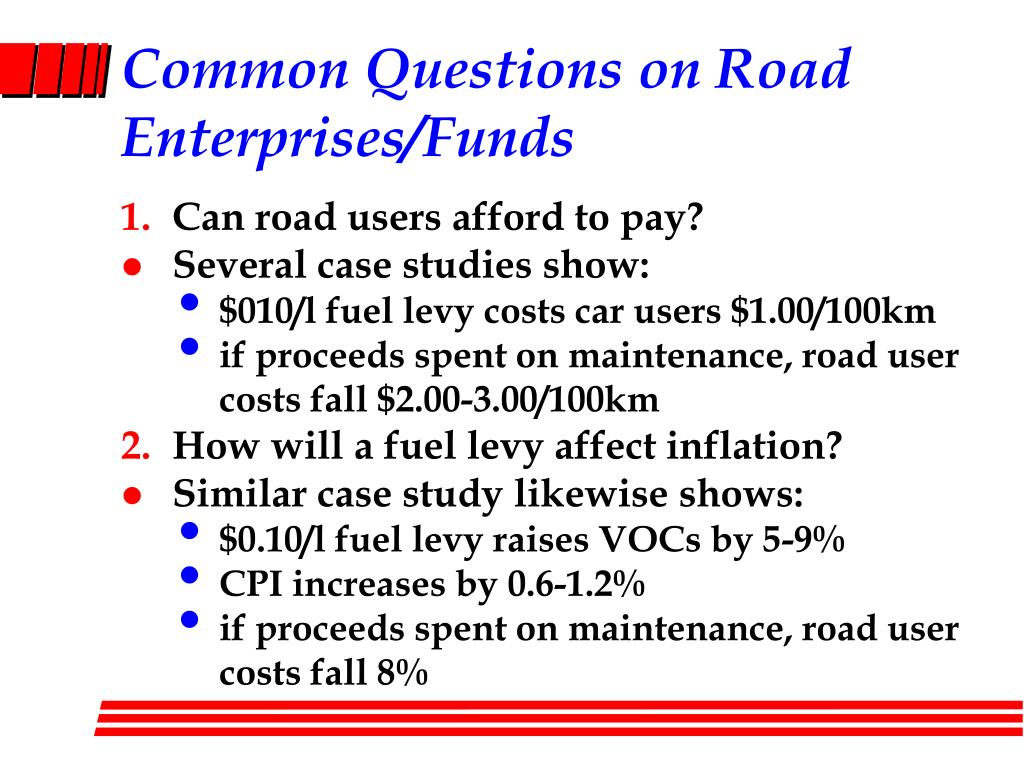Common Questions on Road Enterprises/Funds