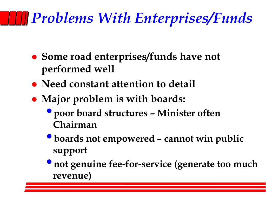 Problems With Enterprises/Funds
