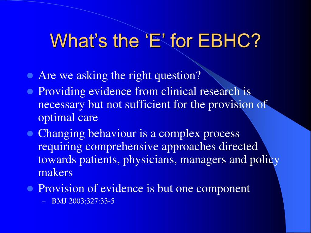 What's the 'E' for EBHC?
