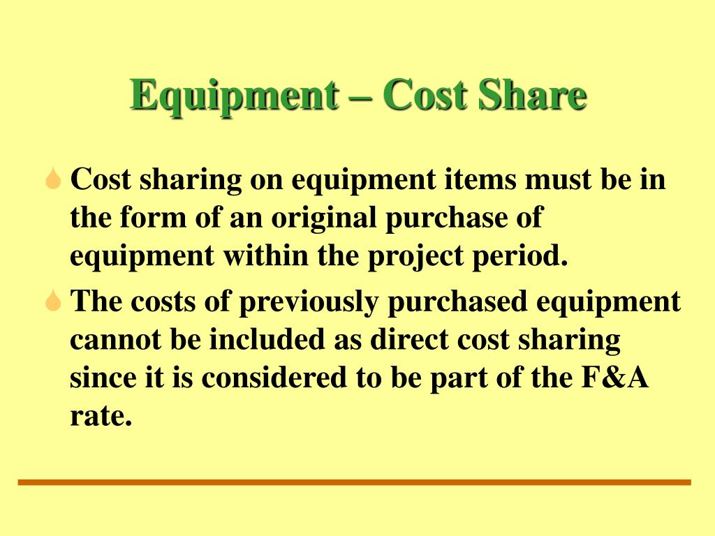 Equipment – Cost Share