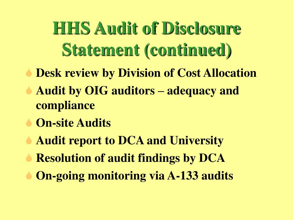 HHS Audit of Disclosure Statement (continued)