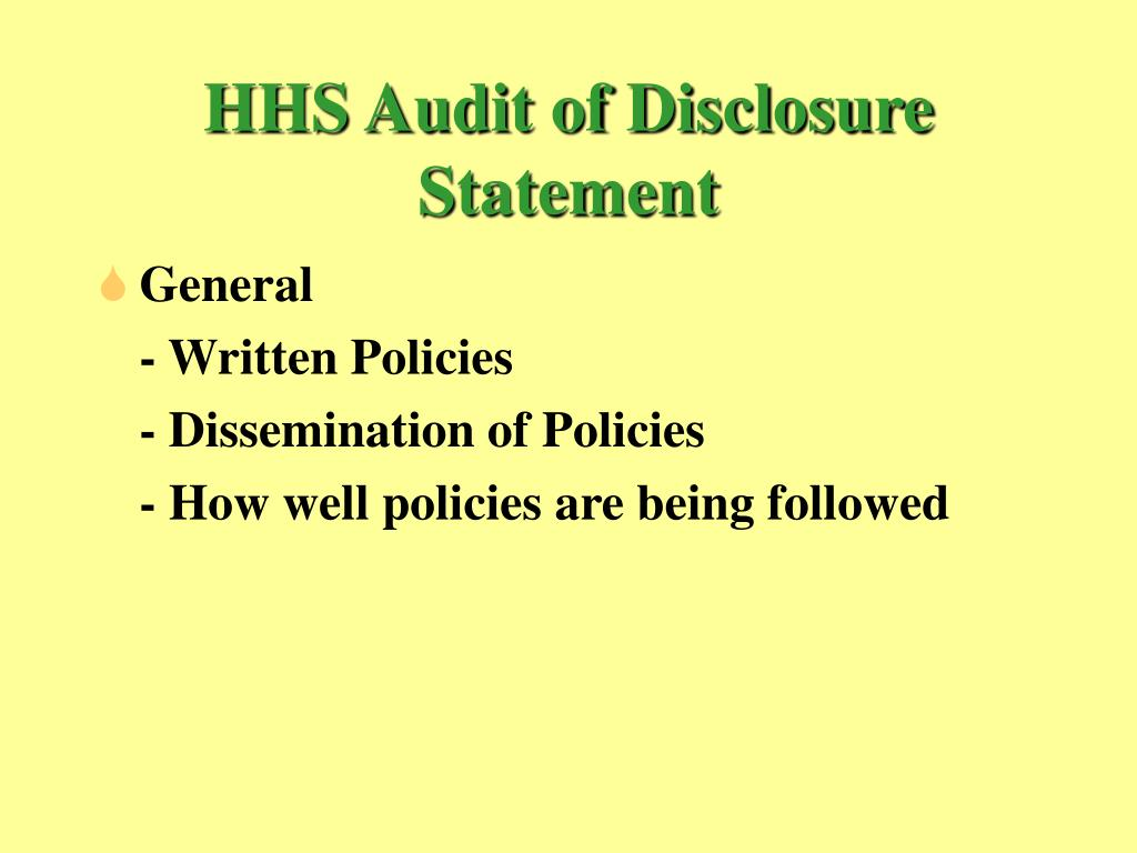 HHS Audit of Disclosure Statement