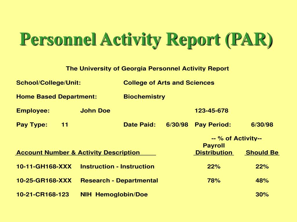 Personnel Activity Report (PAR)