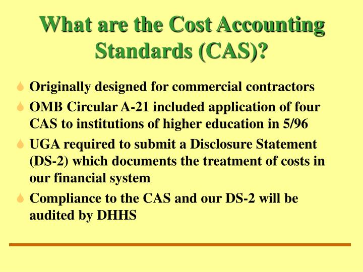 What are the cost accounting standards cas