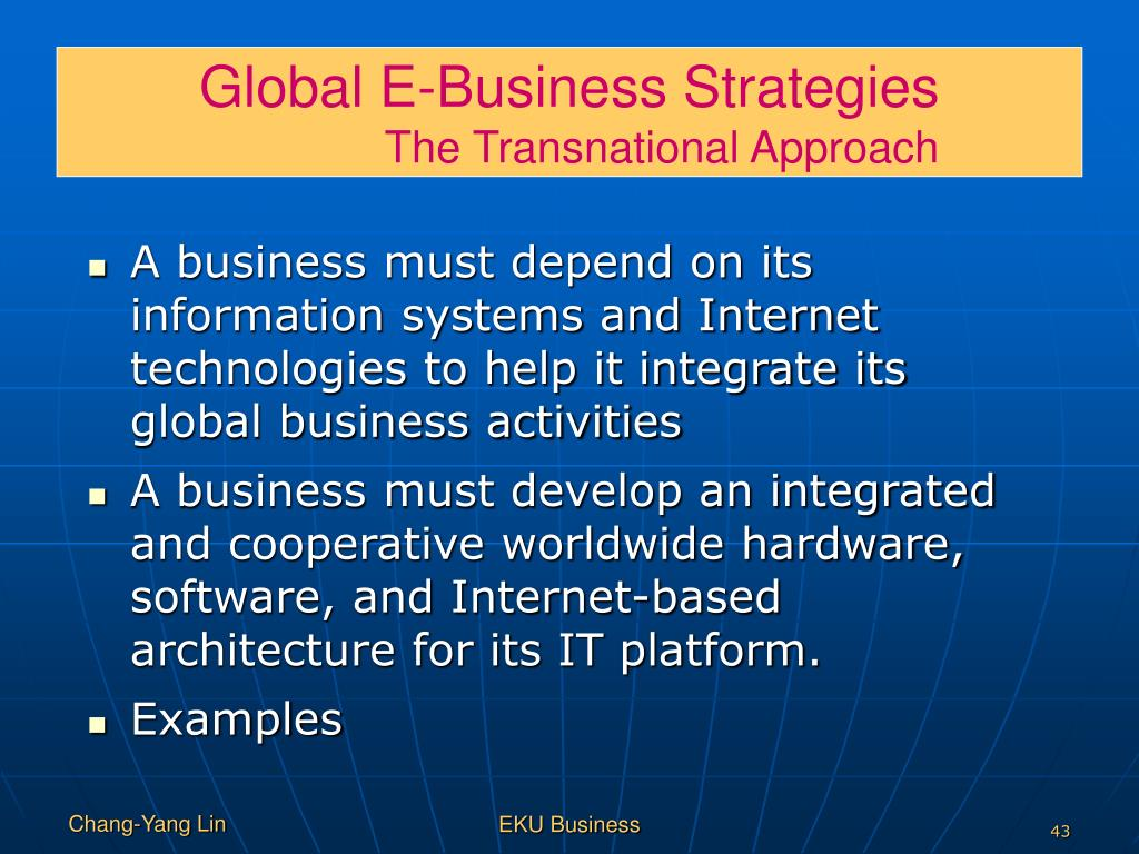 Global E-Business Strategies