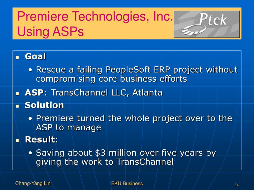 Premiere Technologies, Inc.:   ing   yl yi     Using ASPs