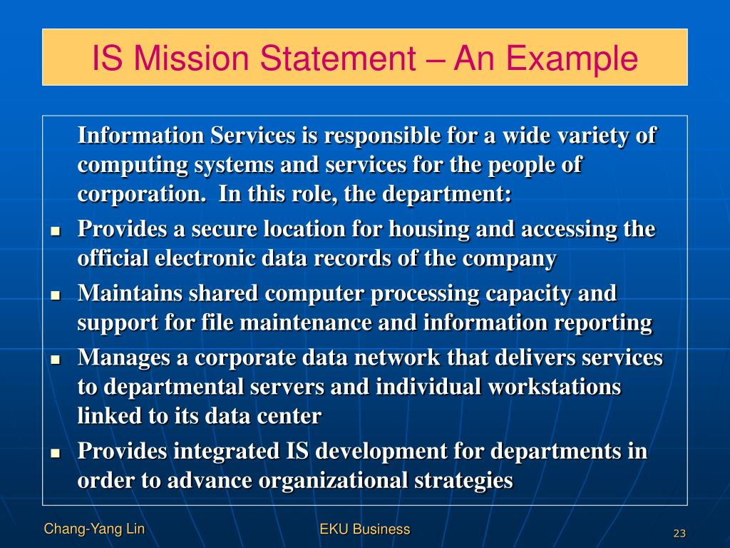 IS Mission Statement – An Example