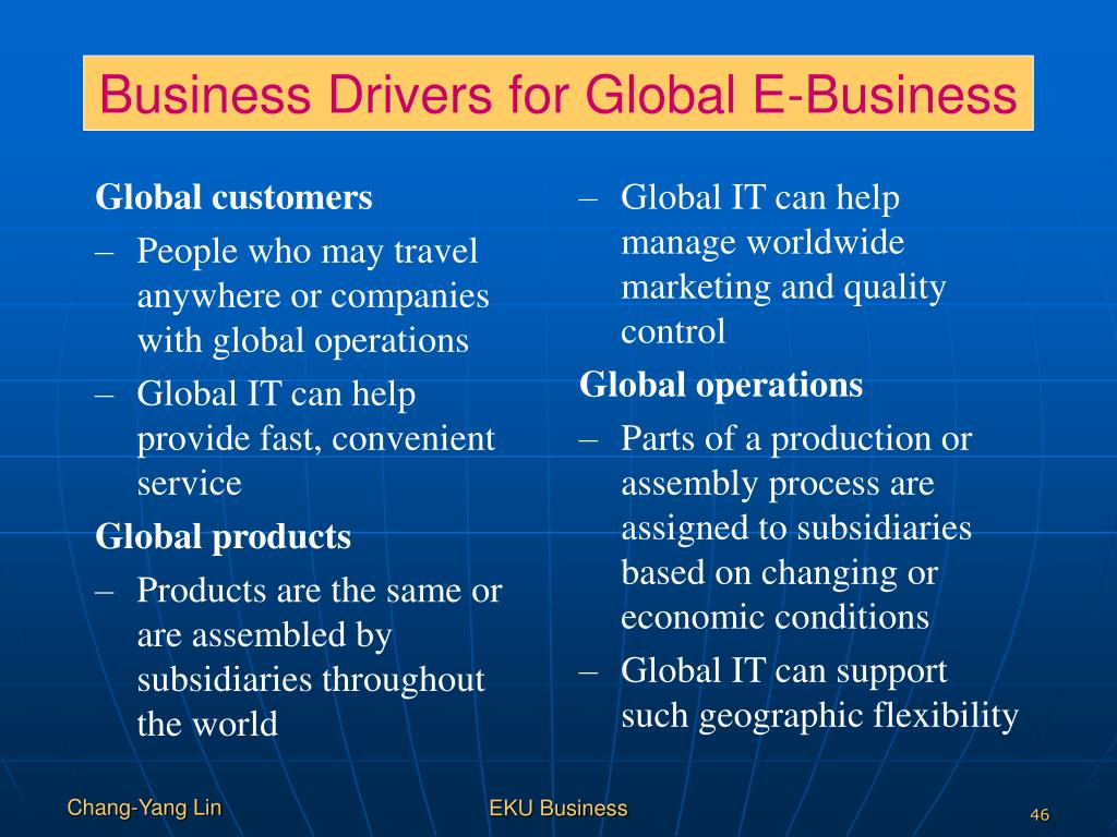 Business Drivers for Global E-Business