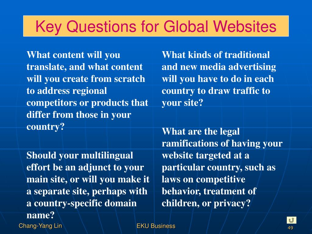 Key Questions for Global Websites