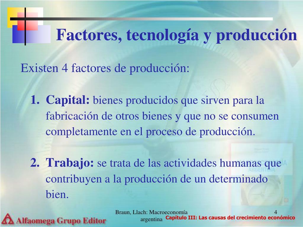 Factores, tecnología y producción