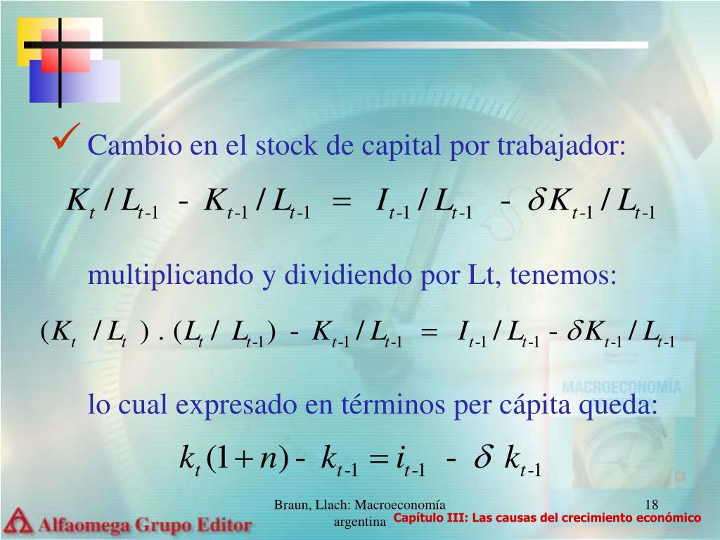 Cambio en el stock de capital por trabajador: