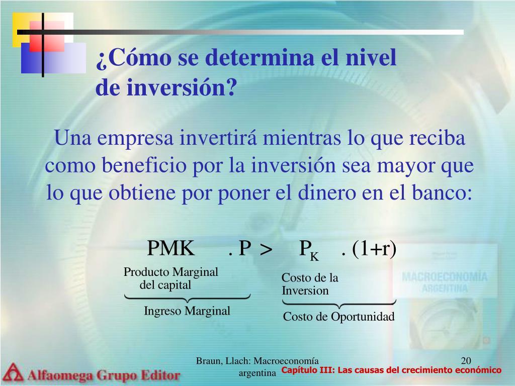 ¿Cómo se determina el nivel de inversión?
