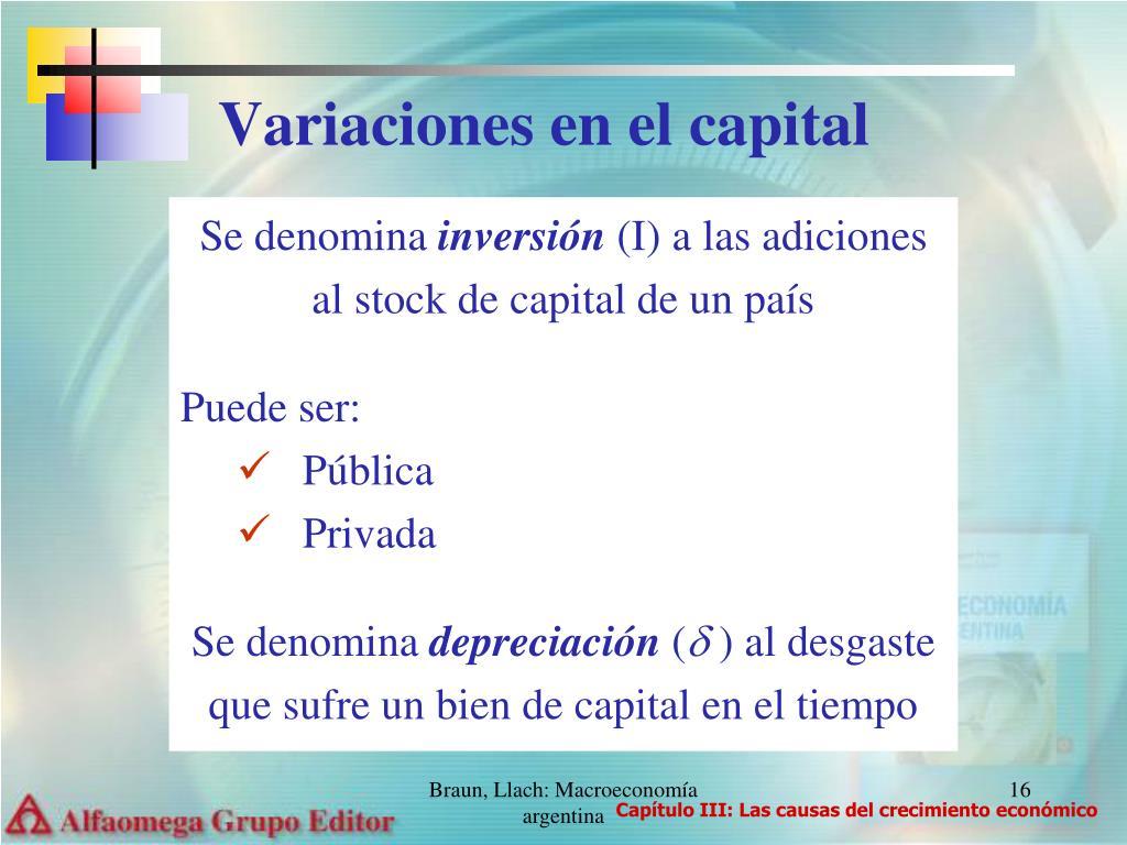 Variaciones en el capital