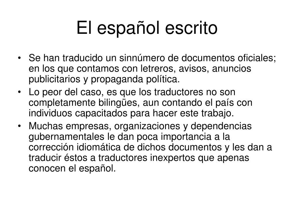 El español escrito