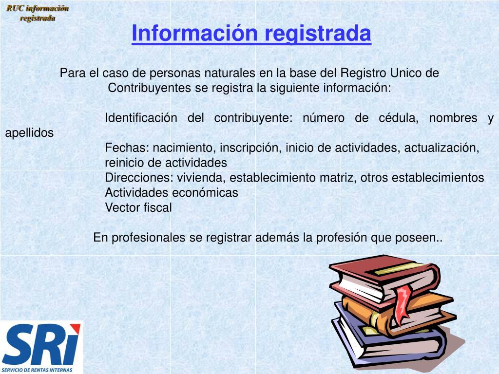 RUC información registrada