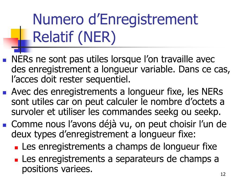 Numero d'Enregistrement Relatif (NER)