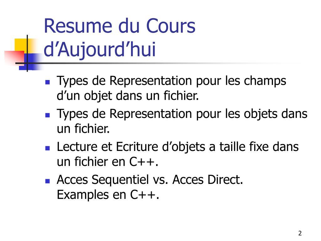 Resume du Cours d'Aujourd'hui
