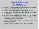 about admission in b tech be