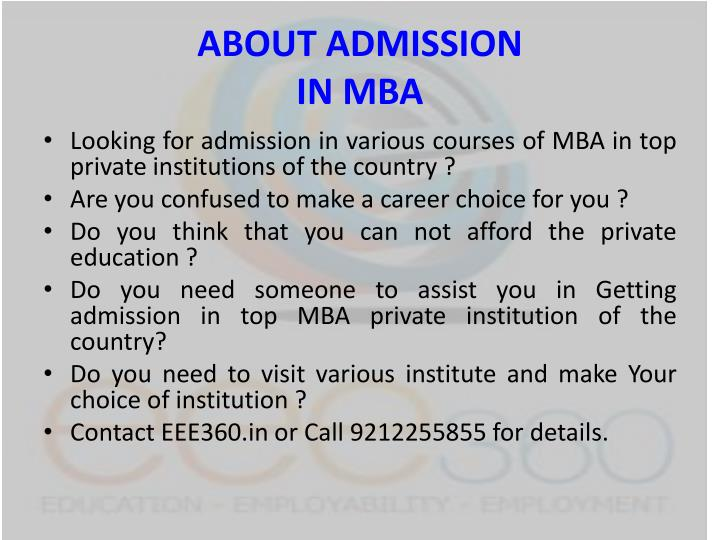 About admission in mba