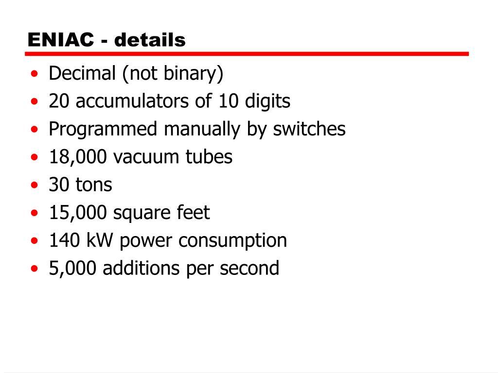 ENIAC - details