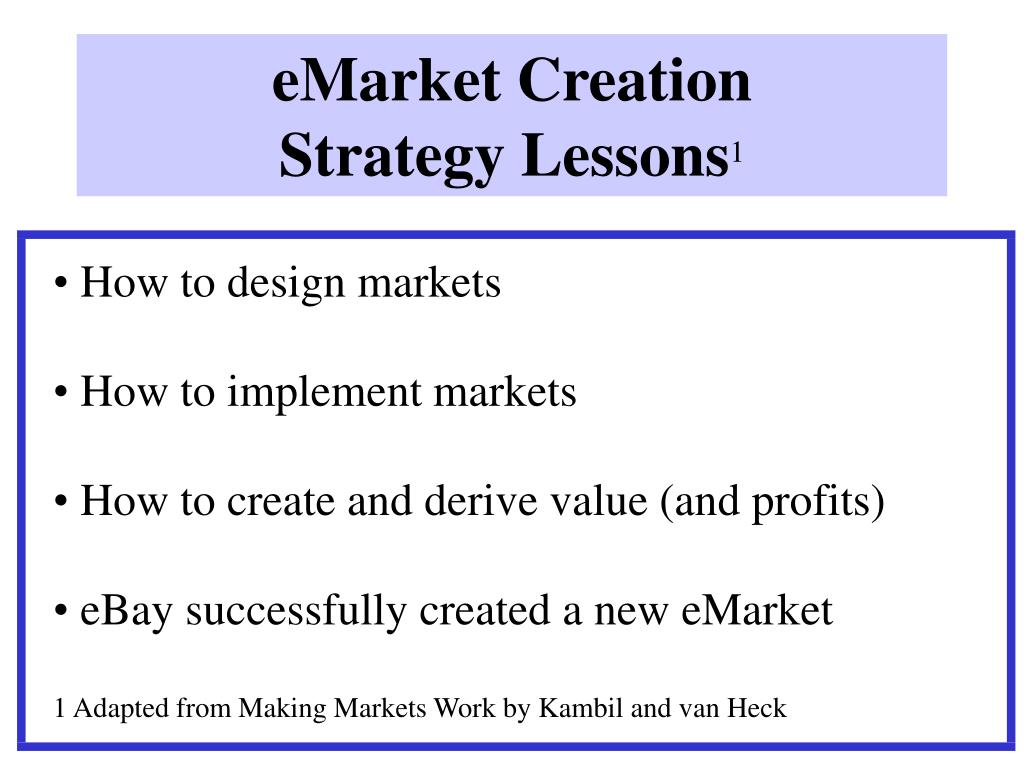 eMarket Creation