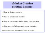 emarket creation strategy lessons 1