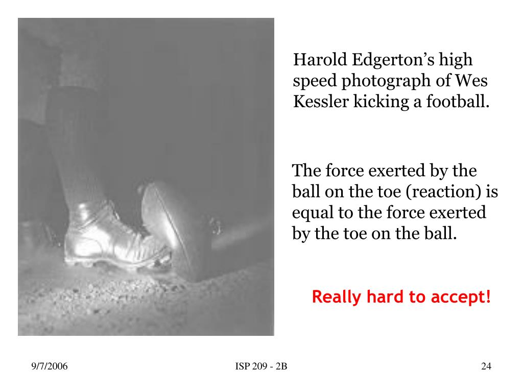 Harold Edgerton's high speed photograph of Wes Kessler kicking a football.