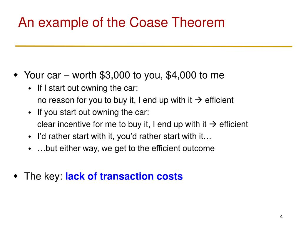 An example of the Coase Theorem