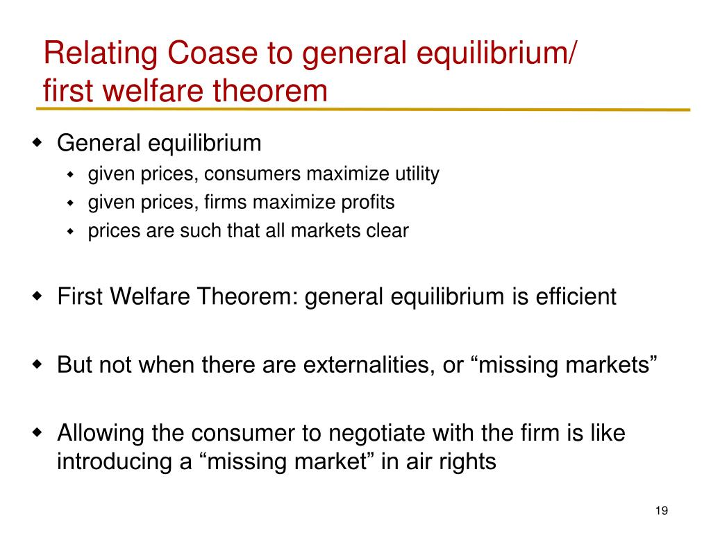 Relating Coase to general equilibrium/