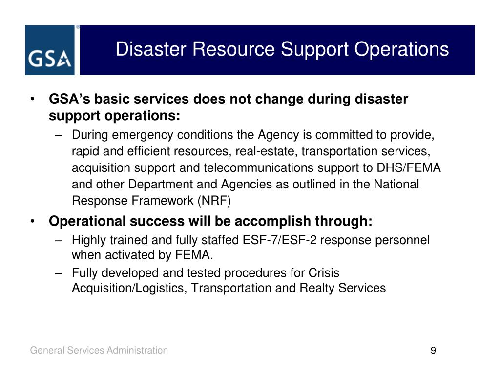 Disaster Resource Support Operations