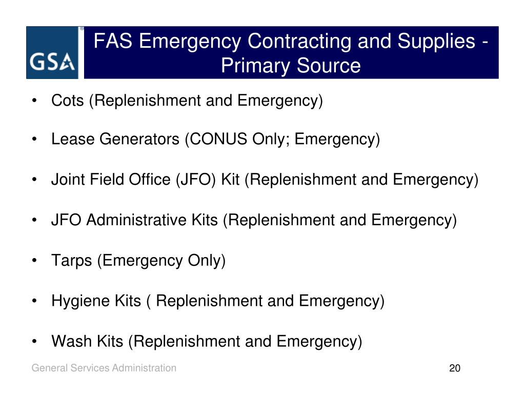 FAS Emergency Contracting and Supplies - Primary Source